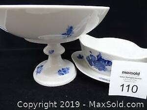 Royal Copenhagen Blue Flow Ware Compote Pedestal and Gravy Boat With Underplate