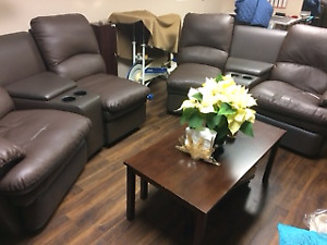 GIVE-A-AWAY PRICE - $100 RECLINER 4 PIECE LEATHER SOFA SET