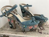 LADIES PLATFORM RETRO DENIM SANDALS HOES FROM OFFICE SIZE 6