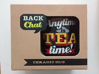 NEW in box 'Anytime is Tea Time' retro style ceramic mug.