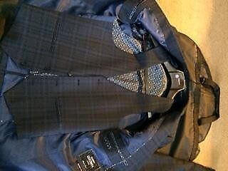 Mens 3 piece checkered suit ( navy)