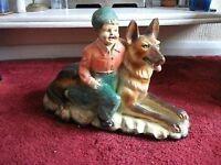 LARGE OLD FIGURE OF GERMAN SHEPHERD DOG WITH LITTLE BOY