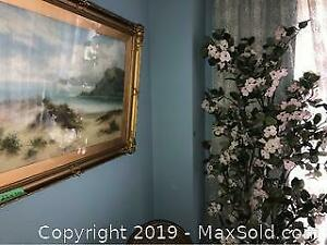 Framed Painting and 74 Inch Faux Plant A