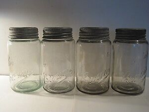 Set of 4 Improved Crown (script) Fruit Jars (circa 1910)