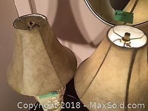 Ceramic Table Lamps And Wall Mirror C