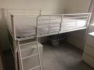 Cabin Bed White Metal Frame Lucas Mid Sleeper