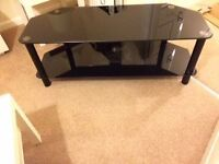 Black glass TV stand (large)