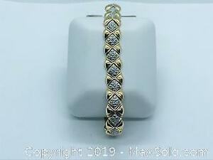 925 Silver and Yellow Gold Cz Diamond Bracelet with COA