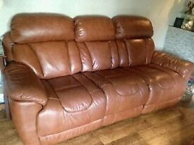 NEW REDUCED PRICE! - Bargain 18 month old Quality Real Leather Recliner sofa - Quick sale