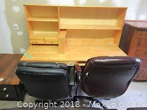 IKEA Desk, Chairs And Rolling Cabinet C
