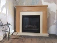 Electric LED Fire B&Q Blakemere Electric Suite Natural Oak/Ivory