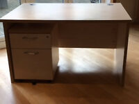 Beech coloured solid office desk, filing cabinet and storage cabinet