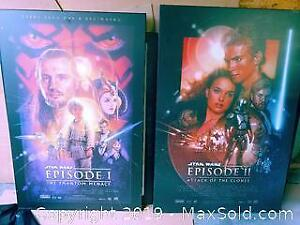 A. Star Wars episode 1 and 2 mounted movie posters