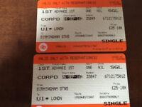 VIRGIN TRAINS RETURN TICKETS LONDON TO BIRMINGHAM - FIRST CLASS - 4/6 SEPTEMBER 2016