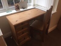 Small pine Dressing Table /desk with chair