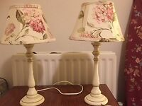 Pair of matching cream and gold trim country/shabby chic lamps for sale with floral shades