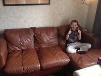 FREE Brown leather corner sofa FREE