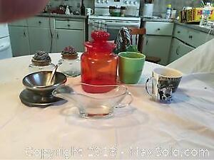 Red Glass Canister, Two Canisters, Gravy Boats And Mugs.