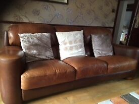 3 seater brown leather sofa. excellent condition. Buyer to collect. Leeds area. £50.00