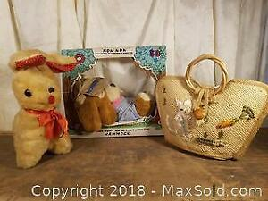 Two Stuffed Animals and Vintage Wicker Purse