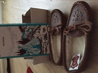 NEW Ladies Fleece Lined LEATHER MOCCASINS