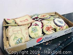 Vintage Hooked Rug Coasters and Mats