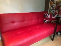 Red Faux leather double sofa bed