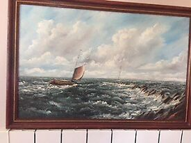 Oil Painting Barge at Sea by Raymond Price framed
