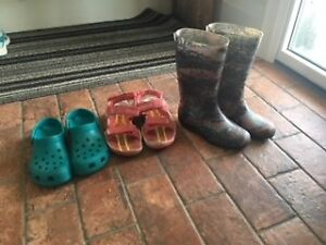 Girls rubber boots, sandals and crocs