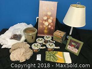 Signed Oil Painting, Lamp and Decorator Items