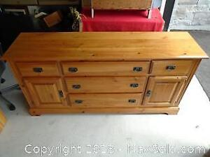 Pine 5 Drawers with 2 Doors Dresser