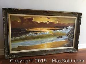 Very Large Vintage Oil On Canvas