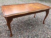 Antique coffee table walnut? with elegant legs (96x47x46 cm tall)