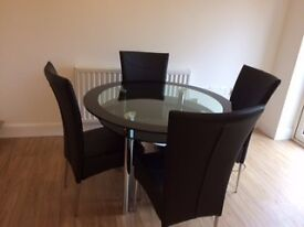 Dining table with 4 chairs, coffee table and lamp table