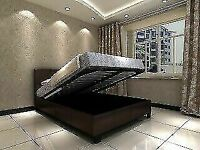🔵💖🔴MASSIVE SAVING🔵💖🔴DOUBLE/KING SIZE LEATHER STORAGE BED FRAME WITH OPTIONAL MATTRESS