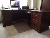 Beautiful solid wood desk an credenza