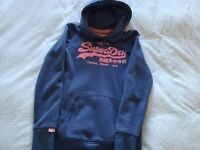 100% Official Womens Superdry Vintage Logo Pullover Hoodie - Size Small. Blue/Pink. Excellent cond.