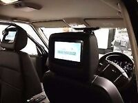 Pair of tv dvd audi gps mp3 tv screens x2 with zip black covers