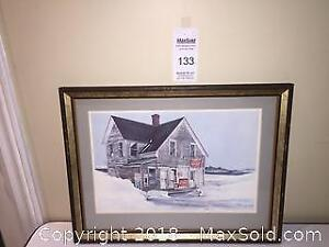 Vintage 70's Tom Anthes Art Print Littles Grocery Store with Coca-Cola Sign