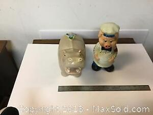 Hippo Cookie Jar And Piggy Chef Bank