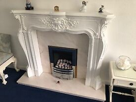 Gas Fire, Marble Surround and Hearth and Period Fireplace