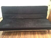 Sofa Bed (Double) - Black Material with Chrome Legs