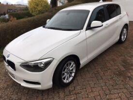 BMW 116D 2013 5 door. White. FSH .Manual, Leather, satnav. One owner.