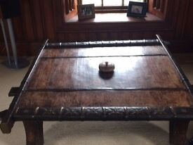 Indian Ox Cart Coffee Table with lovely decorative features.