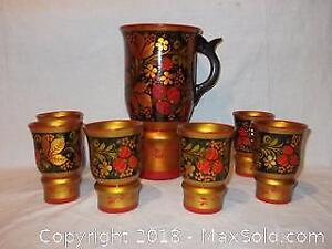 Vintage Russian hand-painted wooden wine set
