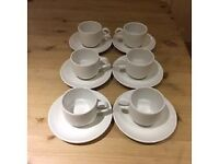 Arcoroc Vitreous Hotel Tea/Coffee 20cl cups with matching saucers sold in sets of 6. 126 sets stock.