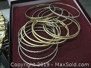 Lot Of 15 Gold And Silver Toned Ladies Bracelets