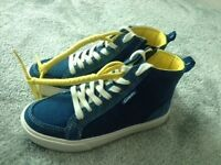 Clarks Boys Hi Top Trainers Boots CLUB POP INF Blue Denim and Suede Lace Up Zip