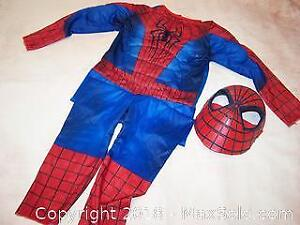 Spider-Man Halloween Costume Children's Size Small & Child to Adult Mask - B