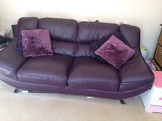 Beautiful Purple Leather Sofa